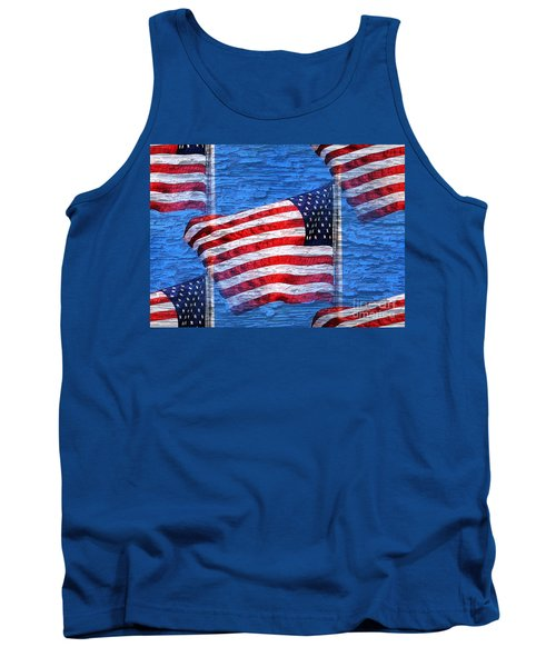 Vintage Amercian Flag Abstract Tank Top by Judy Palkimas