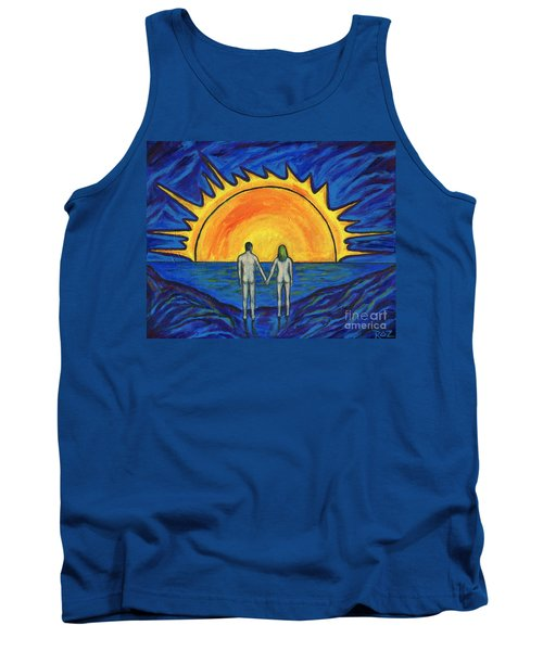 Tank Top featuring the painting Waiting For The Sun by Roz Abellera Art