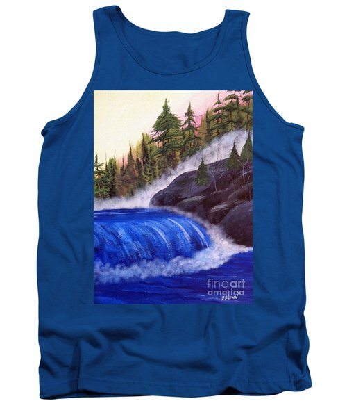 Tank Top featuring the painting Water Fall By Rocks by Brenda Brown