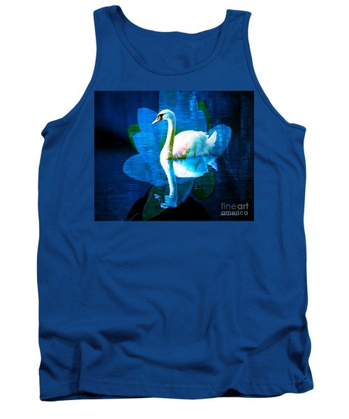 Tank Top featuring the photograph Water Lily And Swan by Annie Zeno