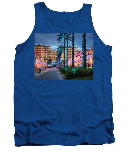 Wharf Blue Lighted Trees Tank Top by Michael Thomas