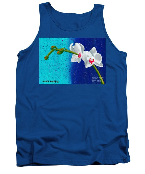 Tank Top featuring the painting White Orchids On Blue by Laura Forde