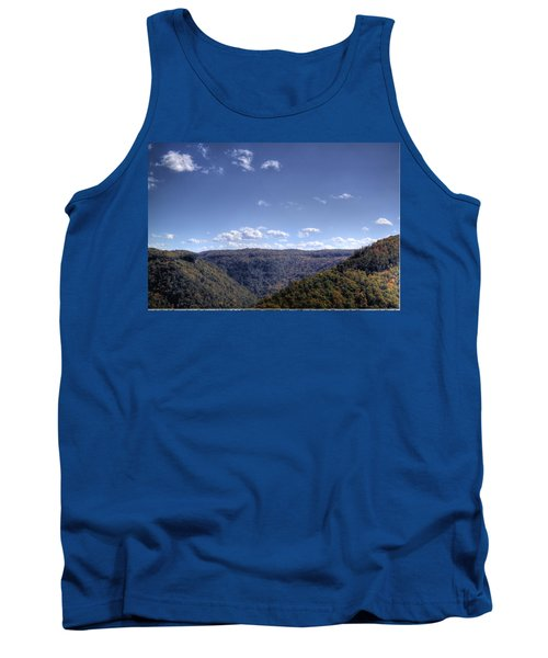 Wide Shot Of Tree Covered Hills Tank Top by Jonny D