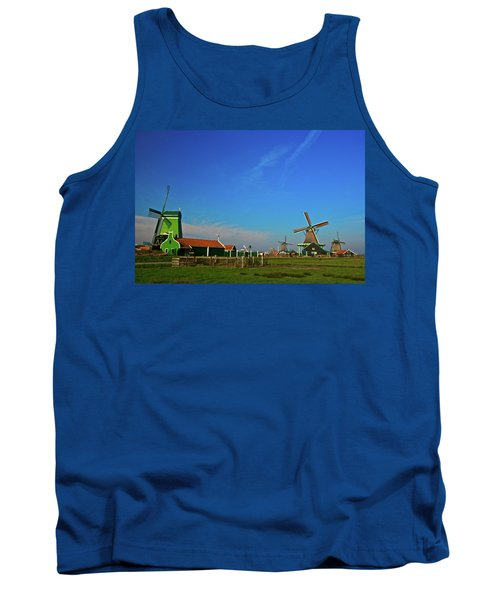 Tank Top featuring the photograph Windmills At Zaanse Schans by Jonah  Anderson