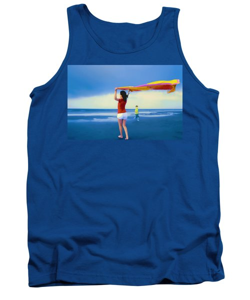 Children Playing On The Beach Tank Top