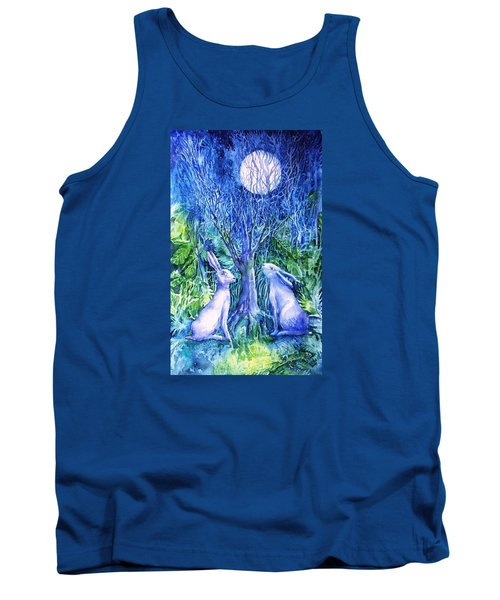 Winter Descends As Two Hares Contemplate An Owl By Moonlight Tank Top by Trudi Doyle