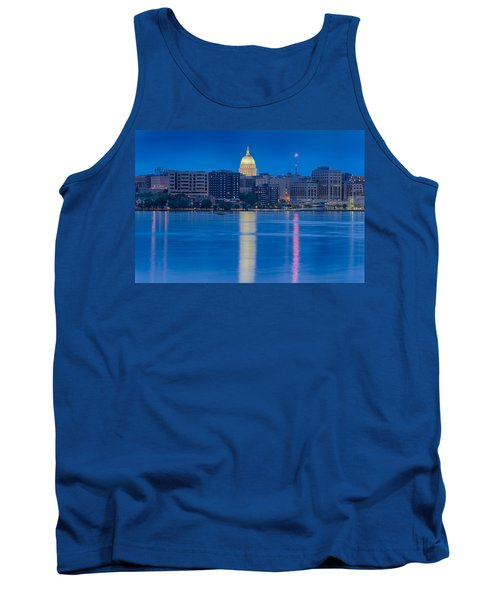 Tank Top featuring the photograph Wisconsin Capitol Reflection by Sebastian Musial