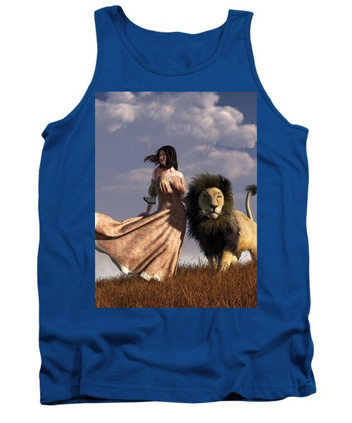 Woman With African Lion Tank Top