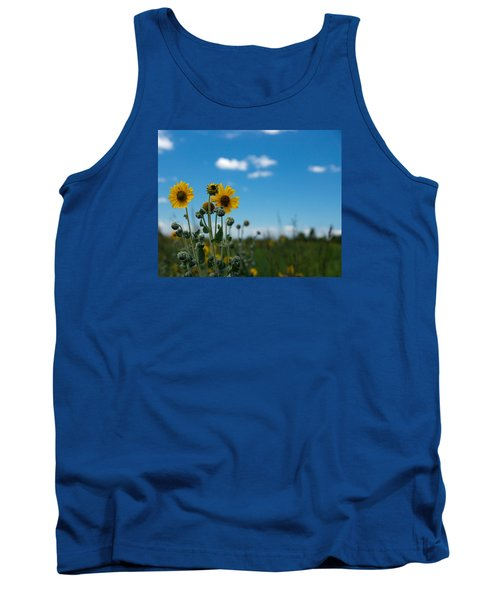 Yellow Flower On Blue Sky Tank Top by Photographic Arts And Design Studio