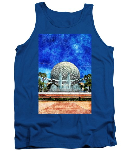 Tank Top featuring the digital art Spaceship Earth And Fountain Of Nations by Sandy MacGowan