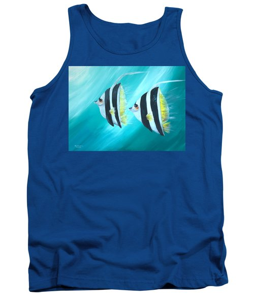 Tank Top featuring the painting Angel Fish by Bernadette Krupa