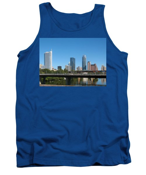 Austin Texas 2012 Skyline And Water Reflections Tank Top by Connie Fox