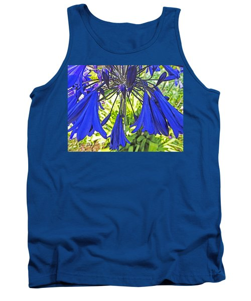 Tank Top featuring the digital art Beautiful Bluebells Close-up by Anne Mott
