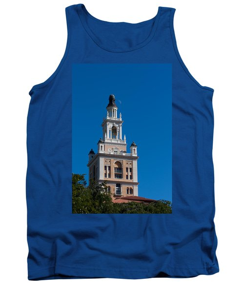 Tank Top featuring the photograph Biltmore Hotel Tower And Moon by Ed Gleichman