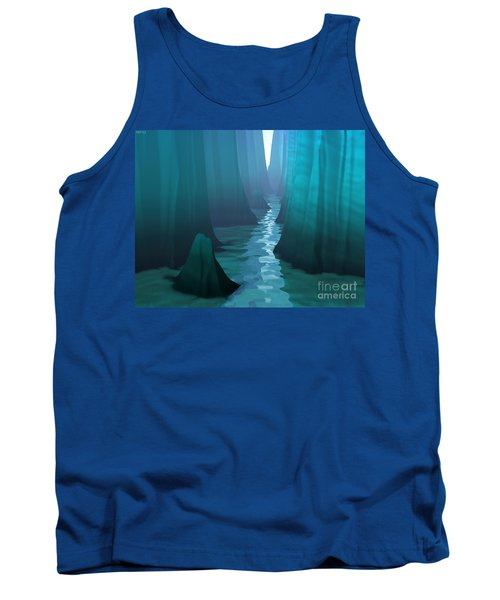Tank Top featuring the digital art Blue Canyon River by Phil Perkins