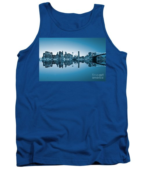 Tank Top featuring the photograph Blue New York City by Luciano Mortula
