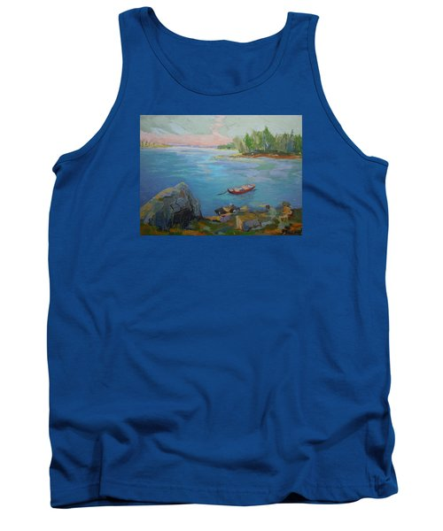 Tank Top featuring the painting Boat And Bay by Francine Frank