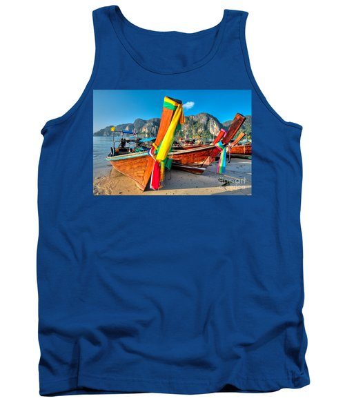 Boats At Phi Phi Island Tank Top