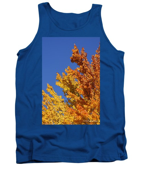 Tank Top featuring the photograph Brilliant Fall Color And Deep Blue Sky by Mick Anderson