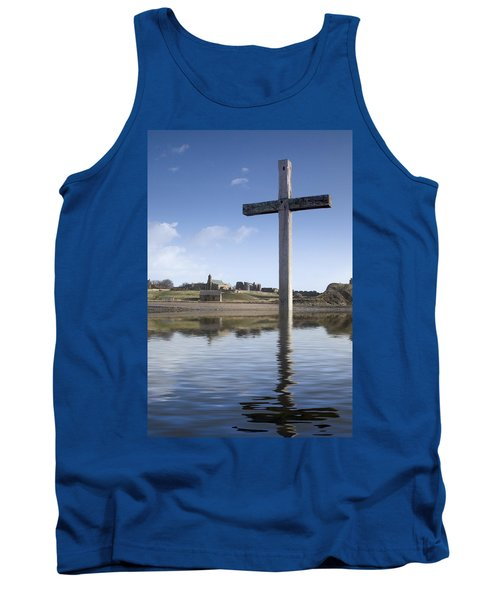 Tank Top featuring the photograph Cross In Water, Bewick, England by John Short