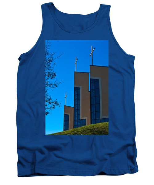 Tank Top featuring the photograph Crosses Of Livingway Church by Ed Gleichman