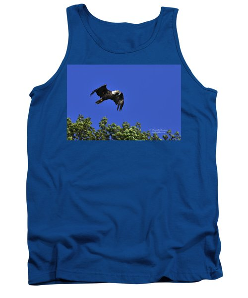 Tank Top featuring the photograph Eagle Over The Tree Top by Randall Branham