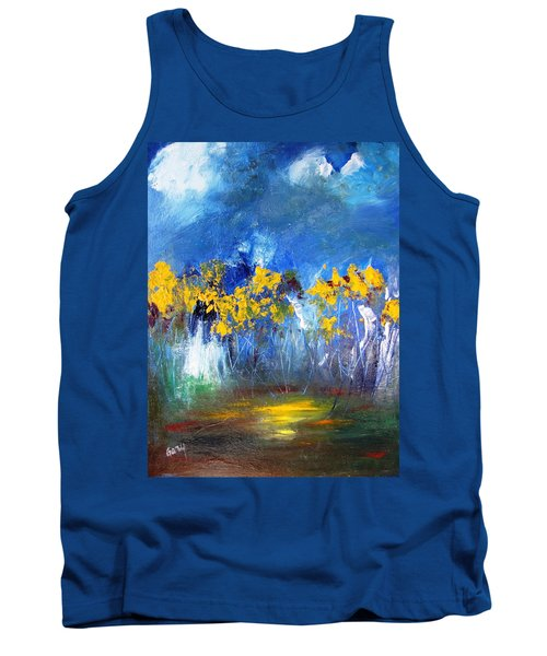 Flowers Of Maze In Blue Tank Top