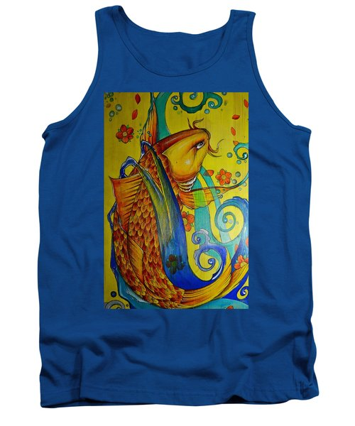 Tank Top featuring the painting Golden Koi by Sandro Ramani