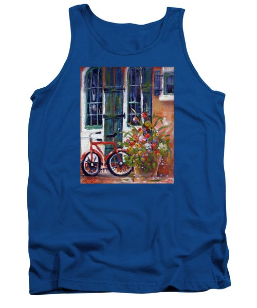 Tank Top featuring the painting Habersham Bike Shop by Gertrude Palmer