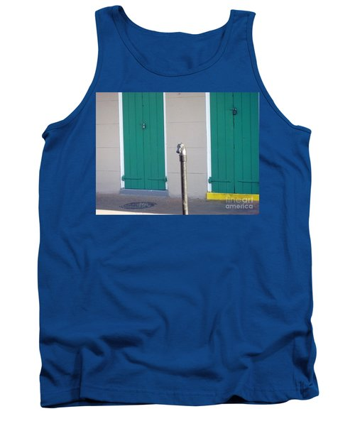 Tank Top featuring the photograph Horse Head Post With Green Doors by Alys Caviness-Gober