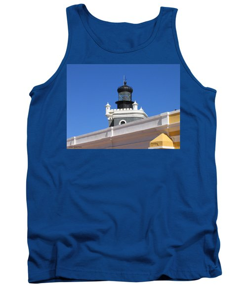 Lighthouse At Puerto Rico Castle Tank Top by Suhas Tavkar