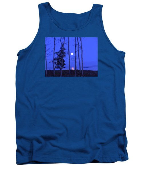 May Moon Through Birches Tank Top by Francine Frank