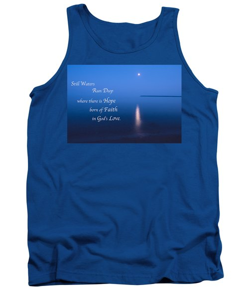 Moonrise On Lake Superior With Quote Tank Top