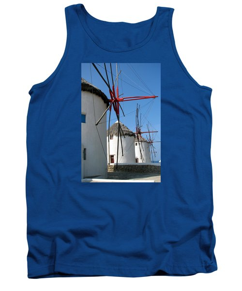 Tank Top featuring the photograph Mykonos Windmills by Carla Parris