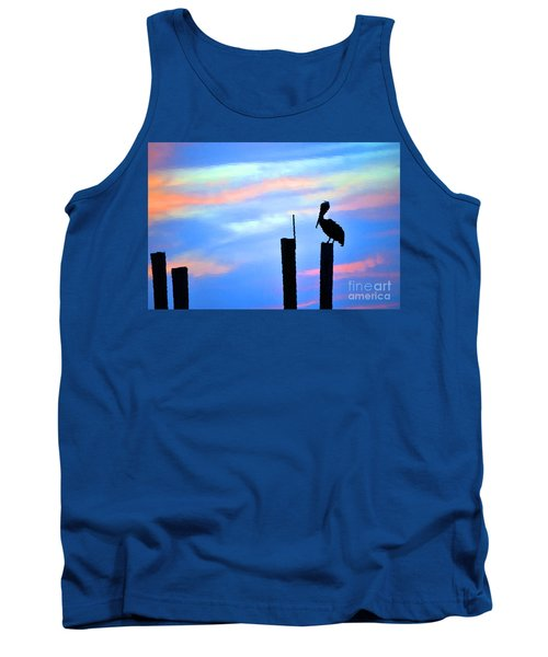 Tank Top featuring the photograph Reflections In Water With Pelican by Dan Friend