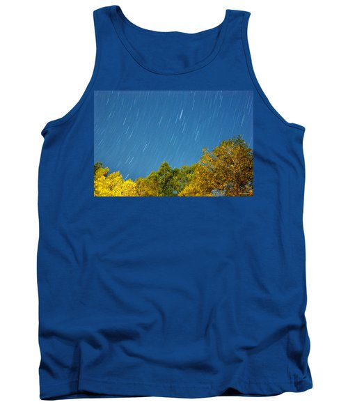 Star Trails On A Blue Sky Tank Top