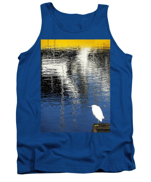 White Egret On Dock With Colorful Reflections Tank Top by Anne Mott