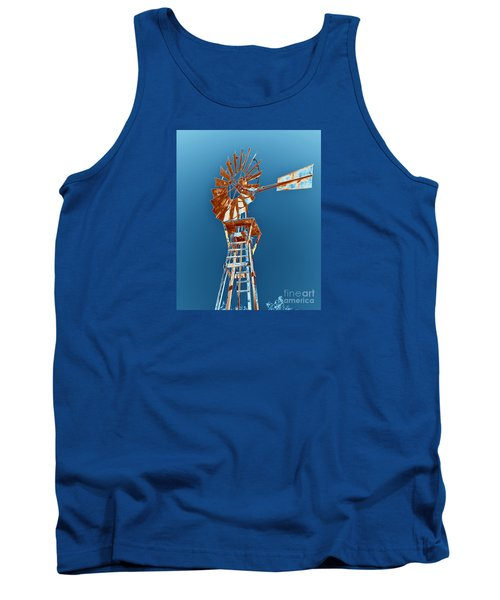 Windmill Rust Orange With Blue Sky Tank Top by Rebecca Margraf