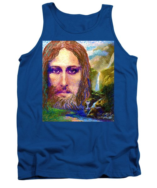 Tank Top featuring the painting  Contemporary Jesus Painting, Chalice Of Life by Jane Small