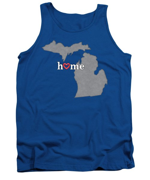 State Map Outline Michigan With Heart In Home Tank Top by Elaine Plesser