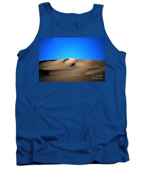 Yuma Dunes Number One Bright Blue And Tan Tank Top by Heather Kirk
