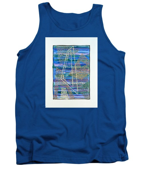 Tank Top featuring the painting 01330 Lean by AnneKarin Glass