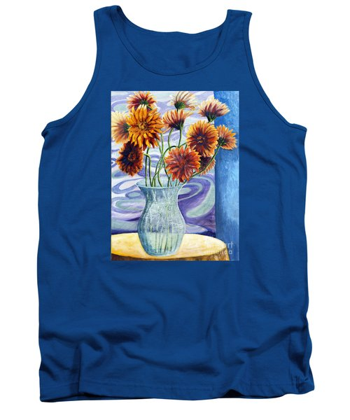 Tank Top featuring the painting 01305 Orange African Daisies by AnneKarin Glass