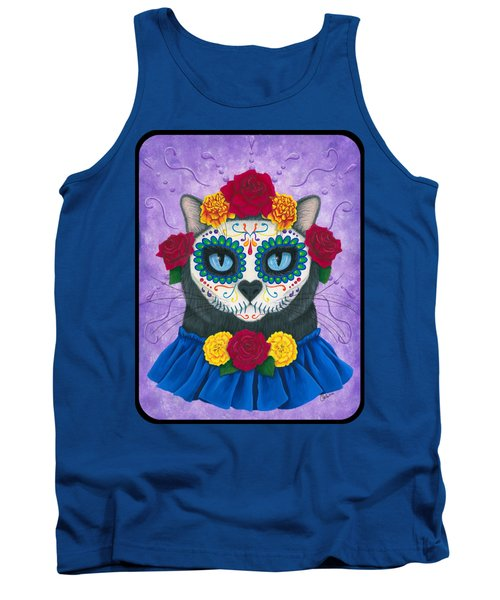 Tank Top featuring the painting Day Of The Dead Cat Gal - Sugar Skull Cat by Carrie Hawks