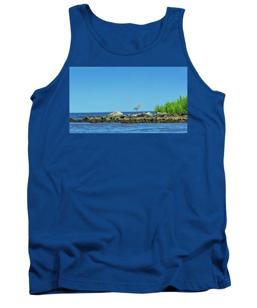 Great Blue Heron On The Chesapeake Bay Tank Top