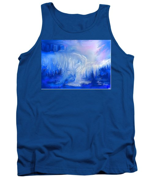 Tank Top featuring the painting Ice Falls by Sherri  Of Palm Springs
