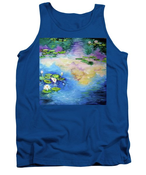 Reflections On A Waterlily Pond Tank Top