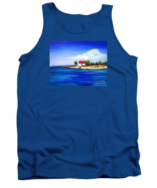 Tank Top featuring the painting Sea Hill Boatshed - Original Sold by Therese Alcorn