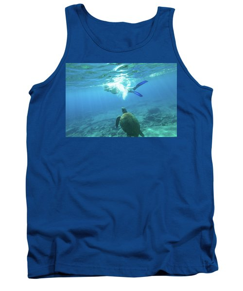 Snorkeler Female Sea Turtle Tank Top