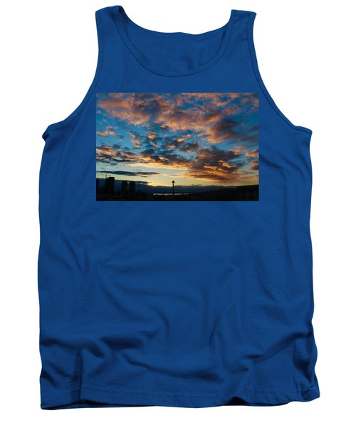Space Needle In Clouds Tank Top by Suzanne Lorenz